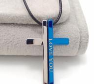 Wholesale Green Jade Couple Necklace - Personality Cross Couple Necklace LOVE YOU Simple Bible Pendant Titanium Steel Necklace