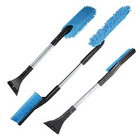 Wholesale Car Snow Brushes Scrapers - Wholesale- 3 in 1 Car Ice Scraper Snow Brush Long Handle Car Defrost Brush Set Equipment Cleaning Brush Car Window Duster Safety Tools