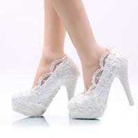 weiße high heels größe 11 großhandel-Weiße Blume Spitze Hochzeit Schuhe High Heel Plattformen Brautkleid Schuhe Erwachsene Zeremonie Pumps Brautjungfer Schuhe Plus Größe
