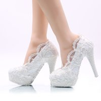 Wholesale plus size pearl shoes resale online - White Flower Lace Wedding Shoes High Heel Platforms Bridal Formal Dress Shoes Adult Ceremony Pumps Bridesmaid Shoes Plus Size