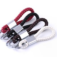Wholesale Audi Leather Key Chain - Hot sales Fashion Black Leather Strap Weave Rope key chain keychain keyring key holder keyfob key buckle pocket tools