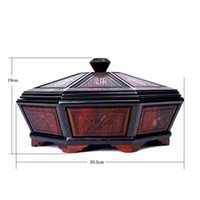 Wholesale African Bowl - Finest carving African Siam rosewood craft wood organizer flavour Candy box tray storage case fruit bowl wedding home decoration