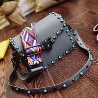 Wholesale Hobo Sling Handbag - Wholesale-women bags handbags famous brands rivet bag vintage fashion rivet shoulder crossbody PUbag leather small sling sac for girl hobo