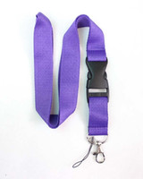 blank lanyards - Purple Blank plain Solid color Key Lanyard Phone Charm neck strap Can Choose Color