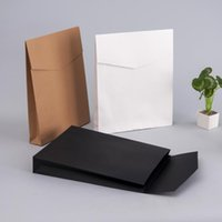 Wholesale Paper Clothing Packaging Box - 100pcs lot Kraft Paper Envelope Gift Boxes Present Package Bag For Book Scarf Clothes Document Wedding Favor Decoration