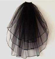 Wholesale Ivory Black Bridal Veils - Wholesale-Layer 3 Black Ivory White Ribbon Edge Wedding Veils Elbow Length Bridal Veil with Comb