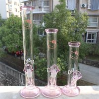 Glass straight tube bong Prix-Pink Glass Bong Hello Kitty Trois tailles Verre Bong Straight Tube Borosilicate Water Pipes Waterpipe Hady Hookahs Smoking 18mm Joint Pipe