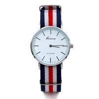 Wholesale Geneva Stripes Watch - 100pcs 2017 NEW ultrathin Geneva Watches Women Men Multicolor Stripe Nylon Fabric wristwatches fashoin watch relogio masculino clock