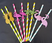 Wholesale Straw Drinking Gold - Tropical Flamingo Cocktail Straw Summer Beach Pool Hawaiian Party Pineapple Drinking Straws Wedding Birthday Hen Night Fun Decoration