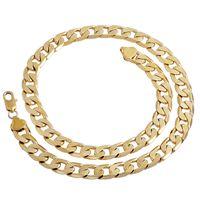 18-каратное твердое желтое золото оптовых-Новый большой 10 мм ширина желтый сплошной золото заполненные кубинский цепи ожерелье толстые мужские ювелирные изделия женские прохладный для папа парень подарок на день рождения