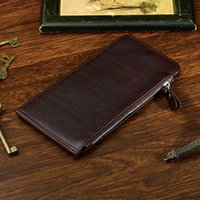Wholesale Coffee Holder Bags - Brand Designer Genuine Leather Wallet Mens Wallets Long Wallet Men Purses Credit Card Holder Clutch Bags with Zipper Coffee Brown Wallet