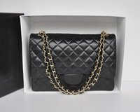 Wholesale Solid Silver Cross Chain - Fab Price XLarge Classial 30CM Maxi Quilted Chain Black Genuine Lambskin Leather Double Flaps Fashion Shoulder Chain Bag Gold   Silver Hw