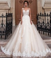 Wholesale Brautkleid Sexy - New Arrival Vintage Wedding Dress 2017 A Line Scoop Cap Sleeve Chapel Train Applications Tulle Champagne Bride Gowns With Tulle Brautkleid