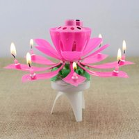 Vente en gros - 1x Pink Magical Flower Musical Birthday Candle Party Decoration Gift Sparkler Cake Topper pour anniversaire