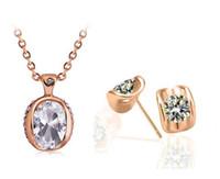 Wholesale swarovski crystal necklace rose gold resale online - Price Fashion K Rose Gold Plated White Austrian Crystal Eye Shape Necklace Earrings Jewelry Sets for Women Swarovski Elements