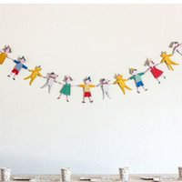 Atacado - 1Set Paper Garland Cute Hand in Hand Girl Boy Dog Dog Bunting Banner Aniversário Baby Shower Party Garland Hanging Decoration