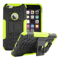 Wholesale armor tire - For Apple iPhone S Plus Hybrid Rugged Tire Pattern Case Kickstand Colorful Duty Armor ShockProof Stand Protective Cover