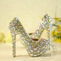 Wholesale Glass Slipper Rhinestone Wedding Shoes - Leather Dress Cinderella White Slip On Pearl Rhinestone Crystal Wedding Shoes Luxury Bling Women Glass Slipper Pumps Plus Size