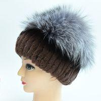 Piel de conejo del rex de las mujeres del invierno real y sombrero del  zorro de plata d534bab545e