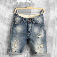 Wholesale Denim Shorts 38 - Wholesale-DIMUSI 2017 summer denim shorts male jeans men jean shorts bermuda skate board harem mens jogger ankle ripped wave 38 40,PA028