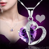 Wholesale 925 sterling silver choker - 925 Sterling Silver Plate Heart Choker Necklace Women Necklaces Crystal Pendant Jewelry Crystal Gemstone Amethyst Heart Necklace Gift