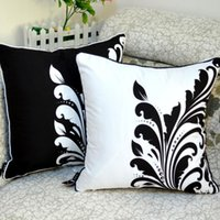 Wholesale cm hospital - Wholesale- 45*45 cm Home Decorative High Quality Black and White Leaf Flower Throw Pillow Case for Bed