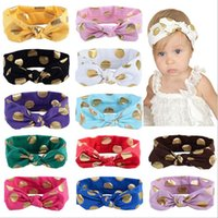Baby Girls Headbands Gold Stamp Dot Knot Headbands Infantil Kids Knotted Cotton Hairbands Crianças Acessórios para o cabelo Head Wrap 12 Colors KHA335
