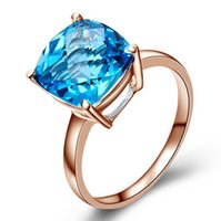 mulher topázio azul venda por atacado-Rosa 18K banhado a ouro 925 prata xadrez cortar 10 * sintética 10 milímetros de água-marinha Anéis azuis Topaz para as mulheres