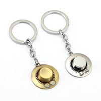 Wholesale Ace Jewelry - ONE PIECE Keychain ACE hat Key Ring Holder Chaveiro Car Key Chain Pendant Movie Jewelry YS11939
