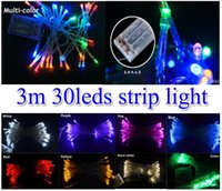 Wholesale 3m Battery Powered Fairy Lights - 3xAA battery powered MINI FAIRY LIGHTS 3M strip Christmas decor light 3m 30 leds led String 9 colors Fairy Wedding party Outdoor Indoor