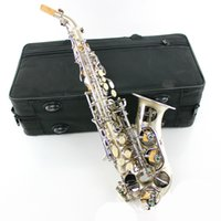 Wholesale Pipe Tunes - wholesale Soprano sax Saxophone Bb elbow pipe Wind Instrument Silver Sax Western Instruments saxofone Musical Instruments saxophone