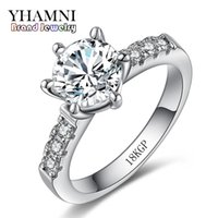 Wholesale Jewelry 18krgp - Have 18KRGP Stamp Solid White Gold Rings for Women Set 2 Carat SONA CZ Diamant Ring Gold Filled Wedding Jewelry Wholesale 001