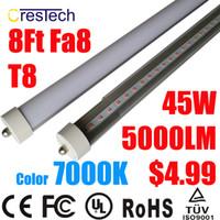 Wholesale 8ft Single Pin Led Light - led tube t8 8ft fa8 LED Tube Lights 8Ft Single Pin 45W 5000Lm T8 5000 Lumen Cold White 7000K-7500K 8Ft LED Light