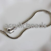 Wholesale European Charm Bead Chain - Bulk 7.5inch 19cm Stainless Steel Round Silver Plated European Charm Bracelet Snake Chain for Beads Pendant Jewelry Necklaces DIY