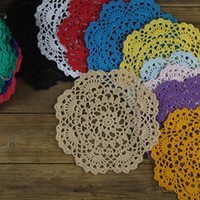 "Wholesale Handmade Crocheted Tablecloths - Wholesale- 5PCS Handmade Crocheted Doilies 7"" 18cm cup Mat Pad tablecloth coasters round Dial Wadding Home Decoration"