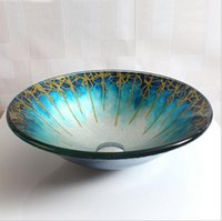 Wholesale Hand Painted Wash Basin - Bathroom tiled glass wash basin large round hat round art wash basin sink separate basin