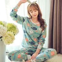 Wholesale Cartoon Pyjamas For Women - Wholesale- HOt Sale 2016 Autumn & Winter Cotton Pyjamas Women Girl Pajama Sets Cartoon Sleepwear Pajamas for women Long-Sleeved Tracksuit