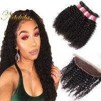 Nadula Human Curly Virgin Hair extensions Compre 3-4Bundles Obter 1 Free Closure 13 * 4Lace Frontal Brazilian Malaysian Peruvian Indian Remy Hair