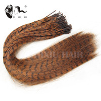 Wholesale Ombre Feathers Hair - Wholesale- 100Pcs lot Feather Hair Extension with Beads Pliers Wholesale Loop Grizzly Solid Zebra Lines Wholesale I Tip Hair Extension