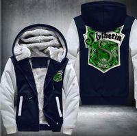 Wholesale 3xl Anime Costumes - 2017 selling High Quality Keep warm Sweatshirts anime slytherin snakeThicken Hoodie Zipper Coat Jacket winter Sweatshirt Costume,USA SIZE