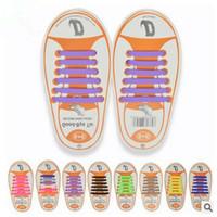 Wholesale White Shoes Wholesale - 13 Colors Unisex Easy No Tie Shoelaces Kids Silicone Elastic Shoe Laces Kids Running Shoelaces Fit All Sneakers 12pcs set CCA5897 100set