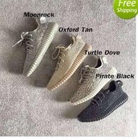 Wholesale Men Casual Black Canvas Shoes - 2017 Original Quality Boost 350 Shoes Pirate Black Moonrock Tan White Kanye West 350 Boosts Size 13 Casual Outdoor Light Running Shoes
