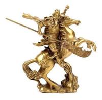 guan yu estátua venda por atacado-Artes Artesanato Cuivre Élaborer Chinois Ancien Héros Guan Gong Guan Yu monter à estátua de cheval en laiton