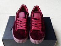 Wholesale Floor Double - Velvet Rihanna x Suede Creepers 2017 new Rihanna Creeper Grey Red Black Women Men Fashion cheap Casual Shoes sneakers With Double box