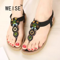Grossiste-WEISE 2016 Bohemian Chaussures Femmes Diamant Confortable Flat Femmes Sandales Caoutchouc Main-Beaded Grass-Roots Style Sandales Taille 35-41