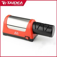 Wholesale Electric Ceramic Knife Sharpener - TAIDEA Top Level T1031D Electric Diamond Steel Sharpener With 2 Slot For Kitchen Ceramic Knife
