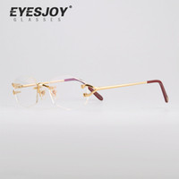 Wholesale Metal Brand Plate - Hot CT Brand Luxury Optical frames Rimless Glasses Frames Real Gold Plated Metal Optical Eyeglasses CT2804390