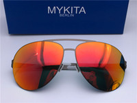 Wholesale Sunglasses Ultralight - New mykita ERWIN sunglasses for man pilot frame with mirror ultralight frame Memory Alloy oversized sunglasses for women cool outdoor design