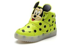 Wholesale Minnie Shoes Girl - children shoes with light new spring sport running girls fashion cartoon minnie sneakers kids led breathable boys shoes 3 colors B4550