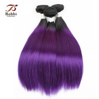 Wholesale 18 Inch Brazilian Remy Hair - 3 Bundles Dark Root Purple Hair Colored Ombre Brazilian Virgin Hair Weave Silky Straight 12 14 16 18 inch Remy Human Hair Extensions